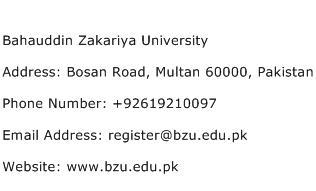 Bahauddin Zakariya University Address Contact Number