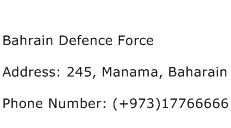 Bahrain Defence Force Address Contact Number