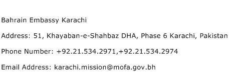 Bahrain Embassy Karachi Address Contact Number
