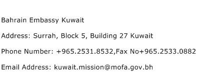 Bahrain Embassy Kuwait Address Contact Number