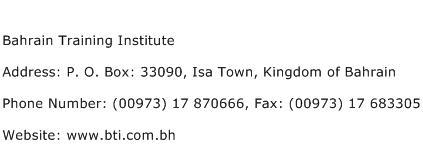 Bahrain Training Institute Address Contact Number