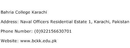 Bahria College Karachi Address Contact Number