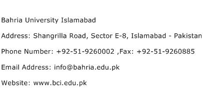 Bahria University Islamabad Address Contact Number
