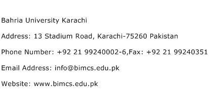 Bahria University Karachi Address Contact Number
