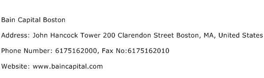 Bain Capital Boston Address Contact Number