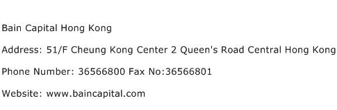 Bain Capital Hong Kong Address Contact Number
