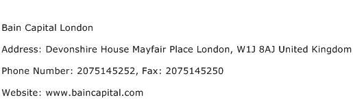Bain Capital London Address Contact Number