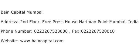 Bain Capital Mumbai Address Contact Number