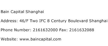 Bain Capital Shanghai Address Contact Number