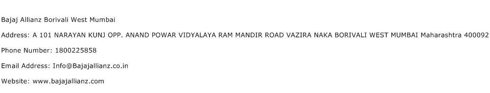 Bajaj Allianz Borivali West Mumbai Address Contact Number