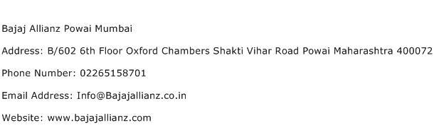 Bajaj Allianz Powai Mumbai Address Contact Number
