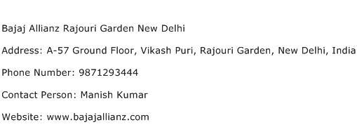 Bajaj Allianz Rajouri Garden New Delhi Address Contact Number
