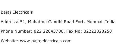 Bajaj Electricals Address Contact Number