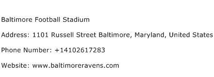 Baltimore Football Stadium Address Contact Number