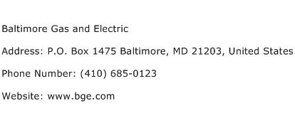 Baltimore Gas and Electric Address Contact Number