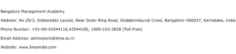 Bangalore Management Academy Address Contact Number