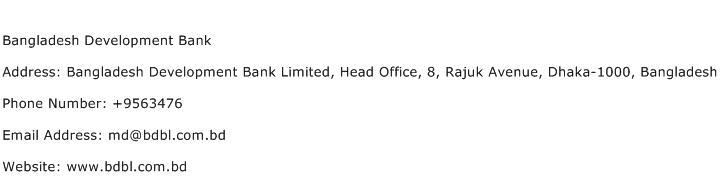 Bangladesh Development Bank Address Contact Number