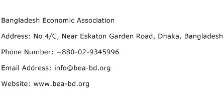 Bangladesh Economic Association Address Contact Number