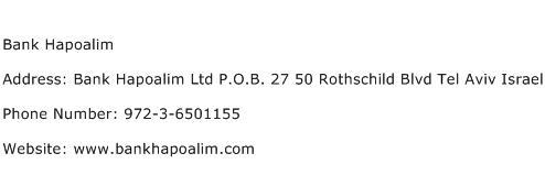 Bank Hapoalim Address Contact Number