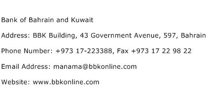 Bank of Bahrain and Kuwait Address Contact Number