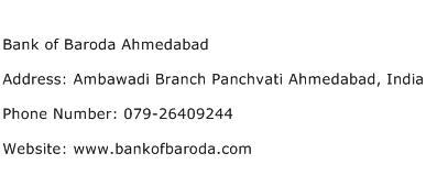 Bank of Baroda Ahmedabad Address Contact Number