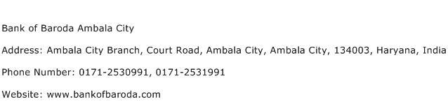 Bank of Baroda Ambala City Address Contact Number