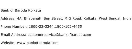 Bank of Baroda Kolkata Address Contact Number