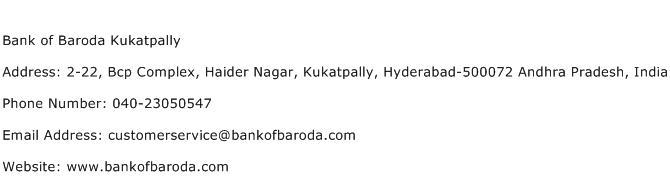 Bank of Baroda Kukatpally Address Contact Number