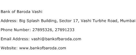 Bank of Baroda Vashi Address Contact Number