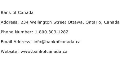 Bank of Canada Address Contact Number