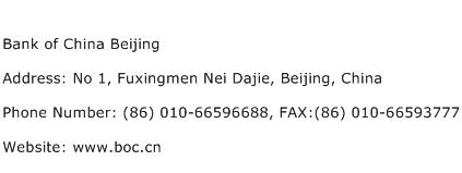 Bank of China Beijing Address Contact Number