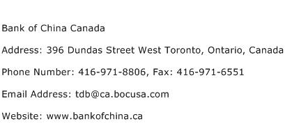Bank of China Canada Address Contact Number