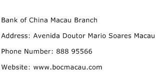 Bank of China Macau Branch Address Contact Number