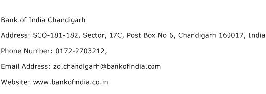 Bank of India Chandigarh Address Contact Number