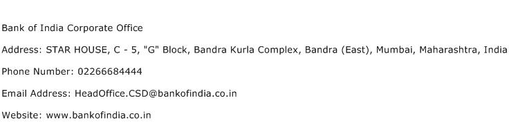 Bank of India Corporate Office Address Contact Number