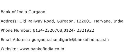 Bank of India Gurgaon Address Contact Number