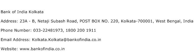 Bank of India Kolkata Address Contact Number