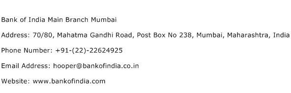 Bank of India Main Branch Mumbai Address Contact Number