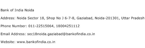 Bank of India Noida Address Contact Number