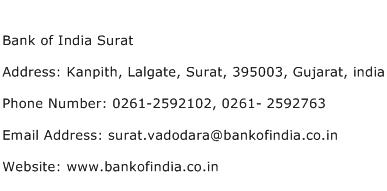 Bank of India Surat Address Contact Number