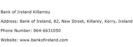 Bank of Ireland Killarney Address Contact Number