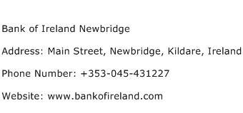Bank of Ireland Newbridge Address Contact Number
