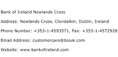 Bank of Ireland Newlands Cross Address Contact Number