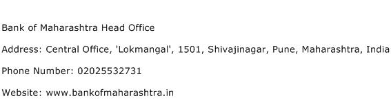 Bank of Maharashtra Head Office Address Contact Number