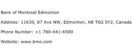 Bank of Montreal Edmonton Address Contact Number