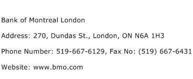 Bank of Montreal London Address Contact Number