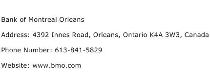 Bank of Montreal Orleans Address Contact Number