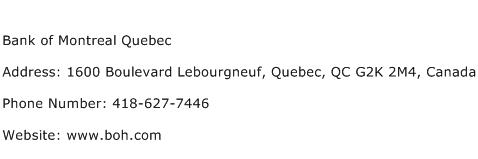 Bank of Montreal Quebec Address Contact Number