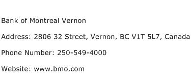 Bank of Montreal Vernon Address Contact Number
