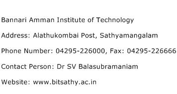 Bannari Amman Institute of Technology Address Contact Number